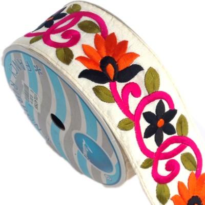 Lami TL4755_Orange,Black,Pink,Embroidery Beige Rayon Ribbon