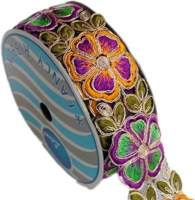 Lami TL4234_Falsa,Orange,Mehndi,Embroidery Gold Rayon Ribbon