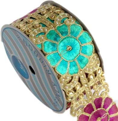 Lami MB5736_Rama,Pink,Embroidery Gold Rayon Ribbon