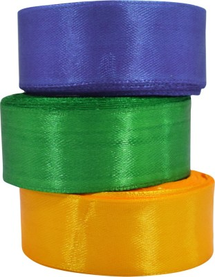 AsianHobbyCrafts (1624_B) Satin Ribbon **Length 10m each Pack of 3 For Scrapbooking, HobbyCrafts etc. Multicolor Satin Ribbon(Pack of 3)