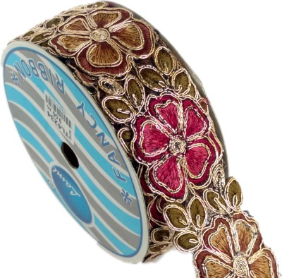 Lami TL4234_Mahroon,Sunff,Embroidery Gold Rayon Ribbon