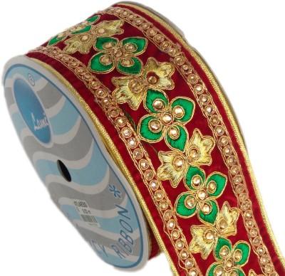 Lami TL4630_Mahroon,Green,Embroidery Gold Rayon Ribbon