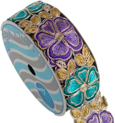 Lami TL4234_Purple,Turquoise,Embroidery Gold Rayon Ribbon