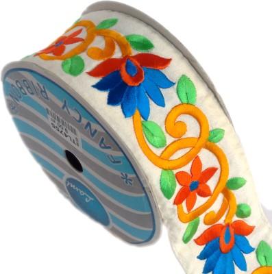 Lami TL4755_Yellow,Orange,Blue,Embroidery Beige Rayon Ribbon