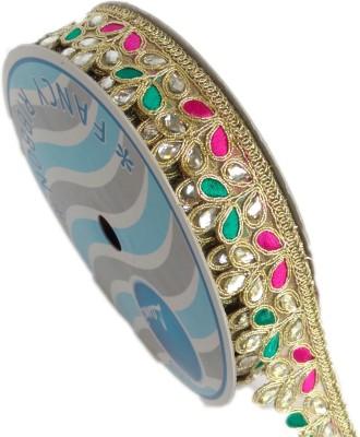 Lami MB5252_,Green,Pink,Embroidery Gold Rayon Ribbon