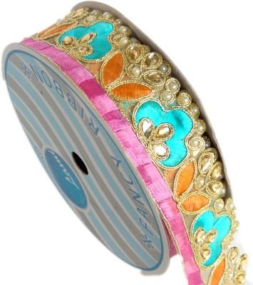Lami MB5651_Lavender,Firoji,Pink,Embroidery Gold Rayon Ribbon