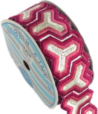 Lami TL4372_Mahroon,Embroidery Silver Rayon Ribbon
