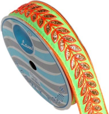 Lami TL4450_Green,Embroidery Orange Rayon Ribbon