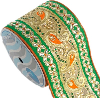 Lami MB5476_Green, Gold Rayon Ribbon