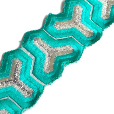 Lami Tl4372_Green,Embroidery Silver Rayon Ribbon