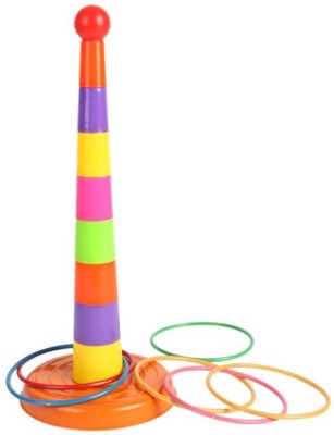 Littlegrin Set of 8 Multicolored Stacking Cups 6 bands and a ball Ring Toss