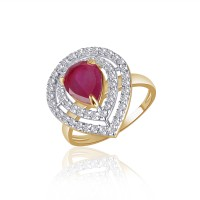 VK Jewels Divine Ruby Alloy Cubic Zirconia Yellow Gold Plated Ring