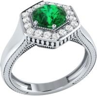 Demira Jewels Sparkling Bead White Gold Emerald, Diamond 14K White Gold Ring best price on Flipkart @ Rs. 21041