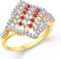 VK Jewels Enchanted Twist Alloy Cubic Zirconia Yellow Gold Plated Ring