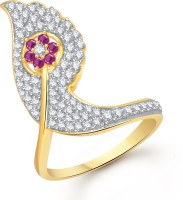 VK Jewels Leaf Bud Alloy Cubic Zirconia Yellow Gold Plated Ring