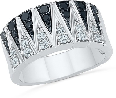 Radiant Bay Gigantic Black And White Sterling Silver Diamond Ring at flipkart