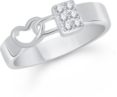 VK Jewels Love Lock Alloy Cubic Zirconia Rhodium Ring