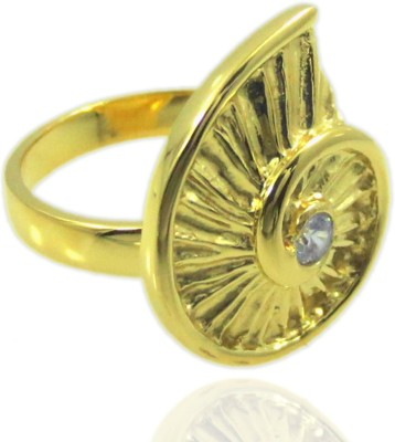 Cheevino Brass Zircon Yellow Gold Ring