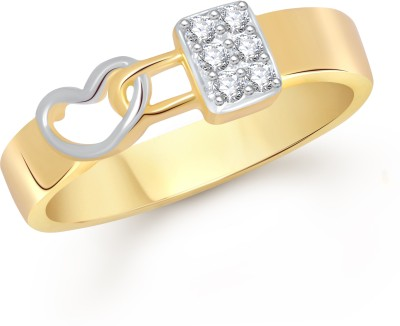 VK Jewels Love Lock Alloy Cubic Zirconia Yellow Gold Ring