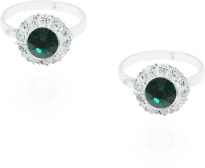 Frabjous Green Zircon Free Size German Silver Toe Ring Alloy Emerald Toe Ring at flipkart