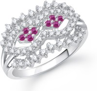 VK Jewels Ruby and AD Beaded Alloy Cubic Zirconia Rhodium Plated Ring