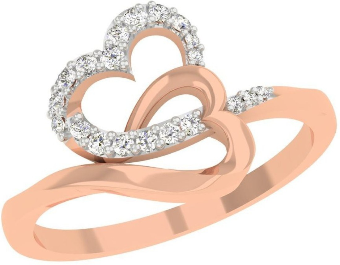 TBZ TheOriginal 18KT Rose Gold Heart n Heart Ladies Ring with 0.10cts Diamonds 18kt Diamond Rose Gold ring(Rhodium Plated) best price on Flipkart @ Rs. 12700