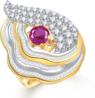 VK Jewels Super Shine Alloy Cubic Zirconia Yellow Gold Plated Ring