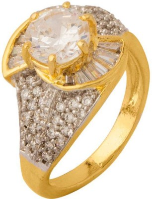 Voylla ArtificialClassic Embellished Brass Cubic Zirconia Yellow Gold Plated Ring at flipkart