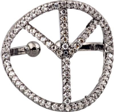 Sparkling Drop Sparkle Loops Brass Cubic Zirconia Rhodium Ring