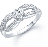 VK Jewels Two Eyes Micro setting Rhodium Plated (CZ) Alloy Cubic Zirconia Rhodium Plated Ring