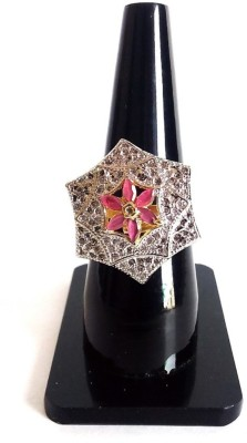 shreejicreations Brass Cubic Zirconia 14K White Gold Ring