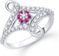 VK Jewels Love Clasp Alloy Cubic Zirconia Rhodium Plated Ring