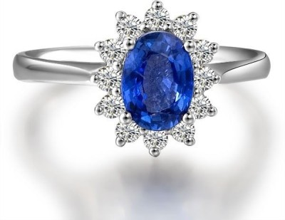S S Jewellers Sterling Silver Swarovski Crystal Platinum Ring at flipkart