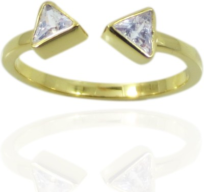 Cheevino Brass Cubic Zirconia Yellow Gold Ring