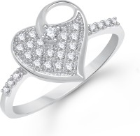 VK Jewels Upper Stone Heart Shape Alloy Cubic Zirconia Rhodium Plated Ring