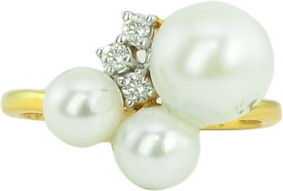 Paliwal Jewelers Coral Bead 18kt Diamond Yellow Gold ring