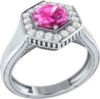 Demira Jewels Sparkling Bead White Gold Sapphire, Diamond 14K White Gold Ring best price on Flipkart @ Rs. 21041