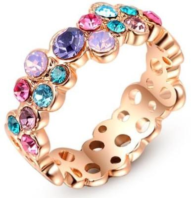 Johri Store Alloy Crystal 18K Rose Gold Ring