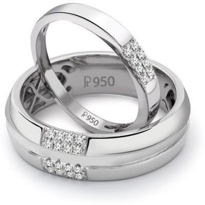 Suranas Jewelove Simple 2 & 4 Row Love Bands Sj Pto 120 Platinum Diamond Platinum Ring Set
