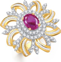 VK Jewels Estonish Flower Alloy Cubic Zirconia Yellow Gold Plated Ring