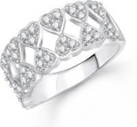 Meenaz Whole Heart White Alloy Cubic Zirconia Ring