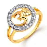 Vighnaharta Auspicious Om Alloy Cubic Zirconia Yellow Gold Plated Ring