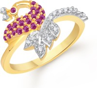 VK Jewels Gorgeous Mayur Alloy Cubic Zirconia Yellow Gold Plated Ring