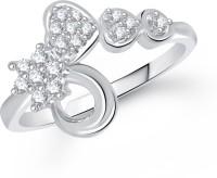 VK Jewels Three Heart Alloy Cubic Zirconia Rhodium Plated Ring