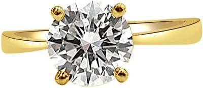 Surat Diamond 0.15ct Round S-U/SI2 Engagement Delight Yellow Gold Diamond Yellow Gold Plated Ring at flipkart