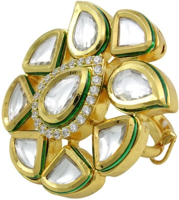 Orniza Vilandi Fashion Finger Ring in Clear Color Brass Yellow Gold Plated Ring at flipkart