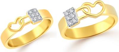 Classic Lock in Heart Couple Ring [CJ1001FRGCP8] Alloy Cubic Zirconia Yellow Gold Ring