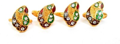 Achal Yellow Gold Crystal Yellow Gold Toe Ring Set