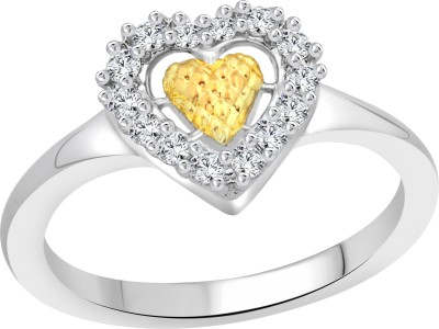 Vighnaharta Inrich Heart Alloy Cubic Zirconia 18K White Gold Ring