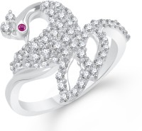 VK Jewels Dazzling Mayur Alloy Cubic Zirconia Rhodium Plated Ring